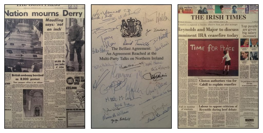 Newspaper headlines about the Troubles