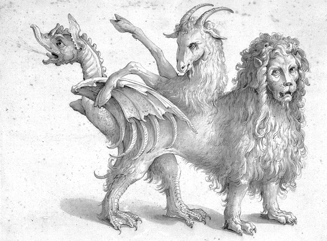 A line drawing of a Chimera
