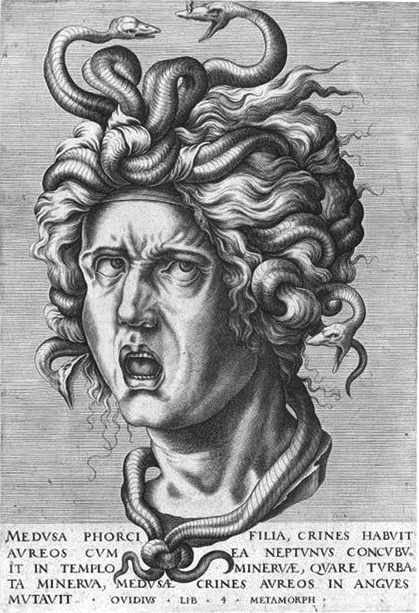 A line drawing of Medusa, a gorgon of greek myth