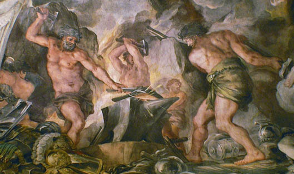 painting of Hephaestus in his forge