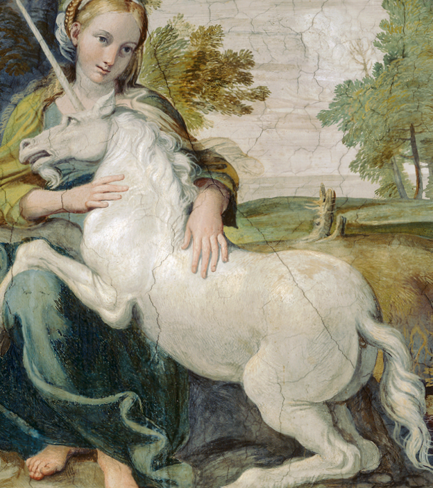 Oil Painting of young woman and a Unicorn