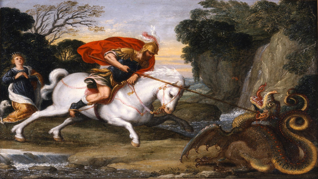 An oil painting of a mounted man running a lance through a dragon that is smaller than his own horse