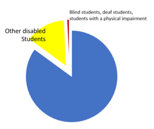 Pie chart showing the number of disabled students based on stats in text (illustrative only)